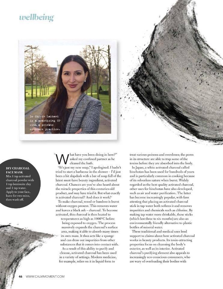 "Dr Shirin Featured in ""In The Moment"" Magazine talking about Charcoal"