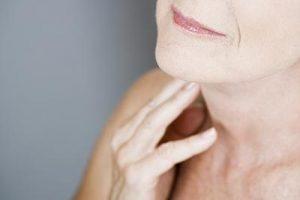 Womens Half Face Demonstrating Loose Skin